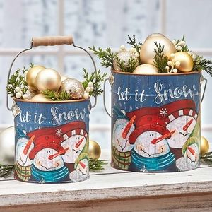 NWT! Set of Two Snowman Let it Snow Metal Planters